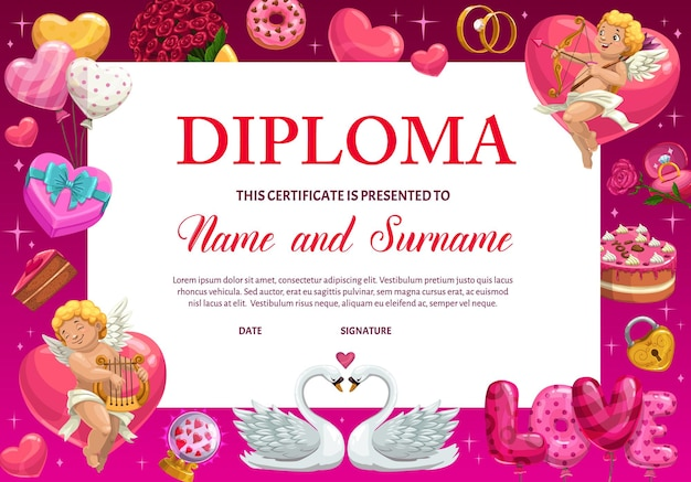 Education school diploma or kindergarten certificate