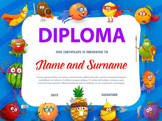 Education school diploma with fruits super heroes, certificate template with cartoon characters watermelon, kiwi and pear, orange, pineapple with weapon.