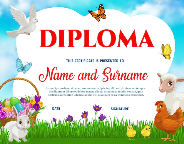 Education school kids diploma with easter eggs
