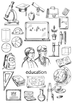 Education and school objects set of drawing hands