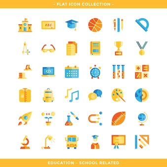 Education and school related flat icon set