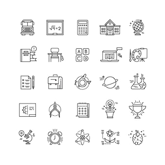 Education, school, science, learning thin line vector icons