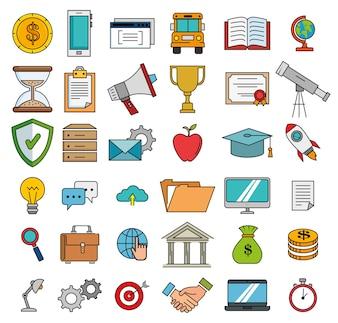 Education school set icons
