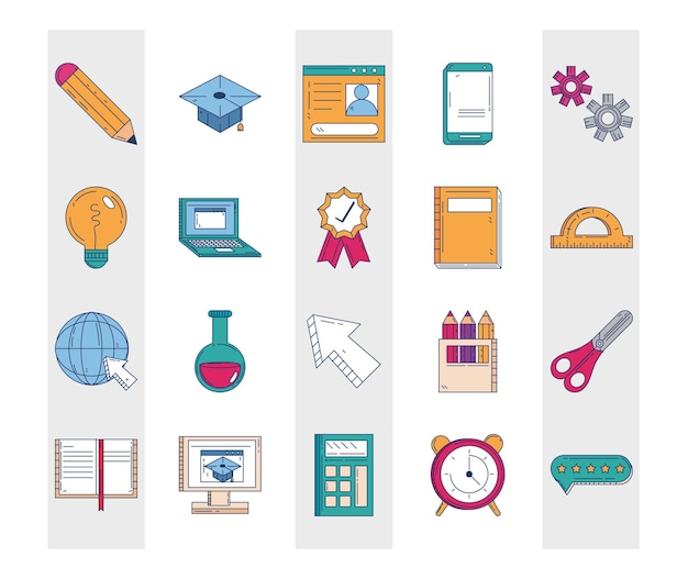 Education school supplies stationery icons