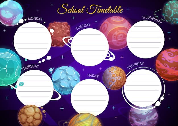 Education school timetable template with cartoon fantasy planets in dark starry sky.