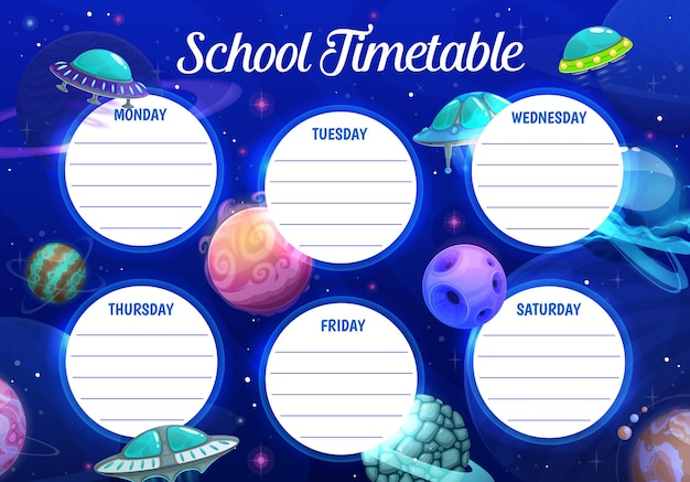Education school timetable template with cartoon ufo saucers and fantasy planets in cosmos