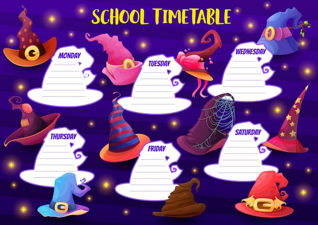 Education school timetable  template with cartoon witch hats and sparkles. kids week time table schedule for lessons with halloween headwear, magician costume. weekly classes planner frame