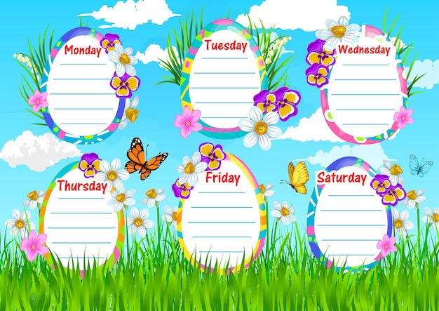 Education school timetable template with spring flowers on field