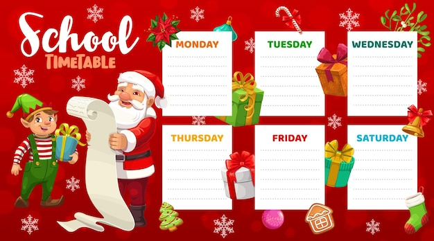 Education school timetable vector template with santa claus and elf reading letter scroll and christmas items around. xmas kids time table, schedule for lessons, weekly planner, cartoon frame design