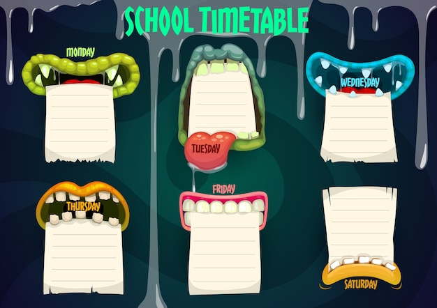 Education school timetable with cartoon monster mouths