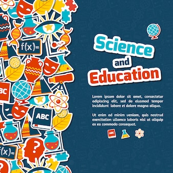 Education science banner with text template