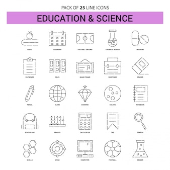 Education and science line icon set - 25 dashed outline style