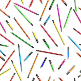 Education seamless pattern with colorful pencils