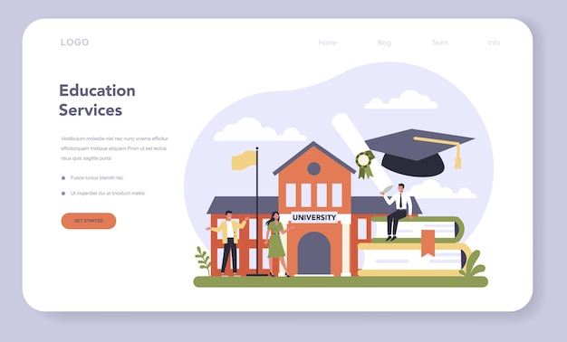 Education service sector of the economy web banner or landing page