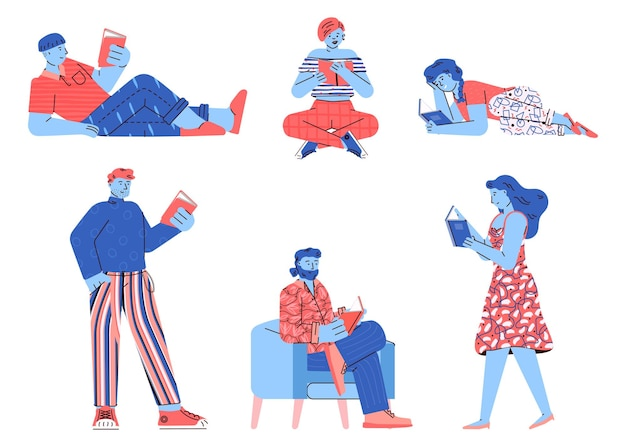 Education set of people characters reading books illustration