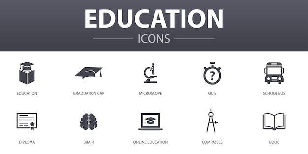 Education simple concept icons set. contains such icons as graduation, microscope, quiz, school bus and more, can be used for web, logo, ui/ux