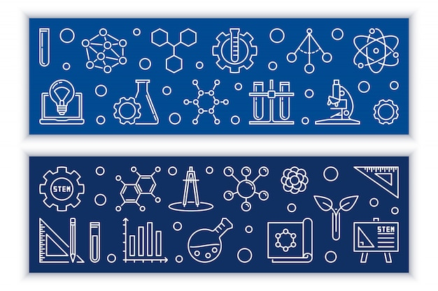 Education and stem vector concept outline banners