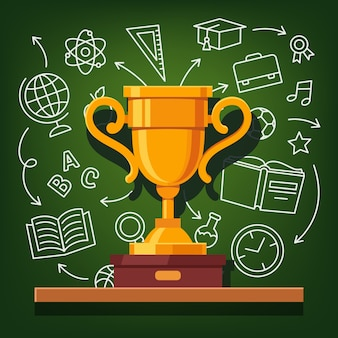 Education success golden cup Free Vector