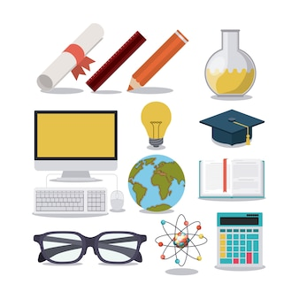 Education supplies concept isolated icon