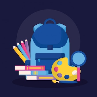 Education supplies in flat style