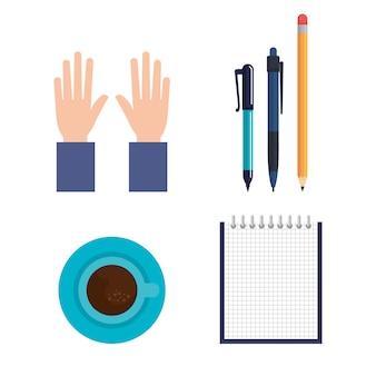 Education supplies set icons vector illustration design