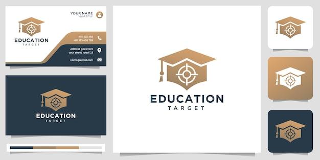 あなたのビジネス会社、エレガント、大学、テクノロジーのための教育ターゲットロゴクリエイティブコンセプトデザイン。