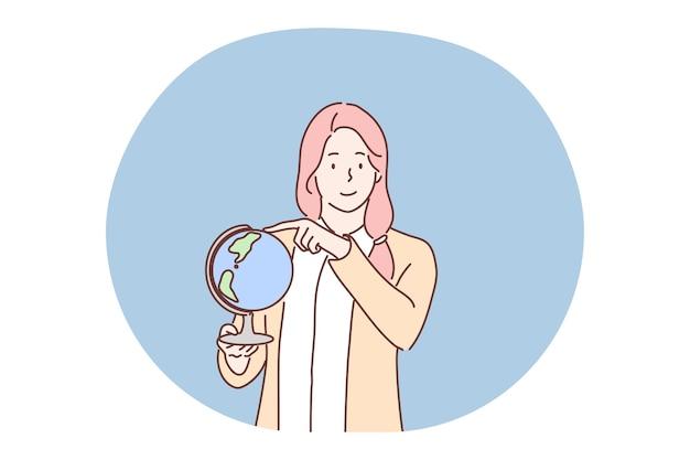 教育、教育、地理、グローバリゼーションのシンボルの概念。