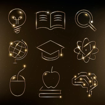 Education technology gold icons vector digital and science graphic collection