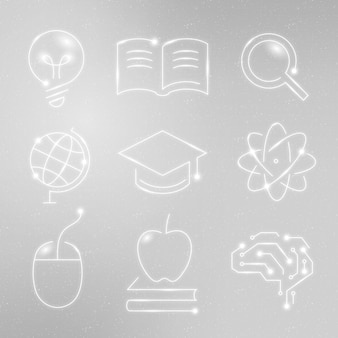 Education technology white icons vector digital and science graphic collection
