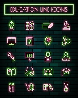 Education thin neon glowing line icons set
