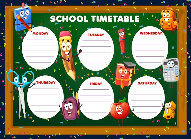 Education timetable schedule with cartoon school stationery characters. vector weekly classes planner with funny schoolbag, textbook and pencil learning items. kids lessons time table for students