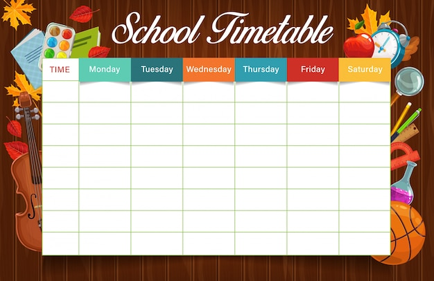 Education timetable or schedule with school supplies  template. weekly planner, student lesson plan or study time table on wooden background with pencil, pen, books and rulers, paint and ball