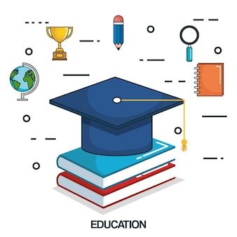 Education tools set icons