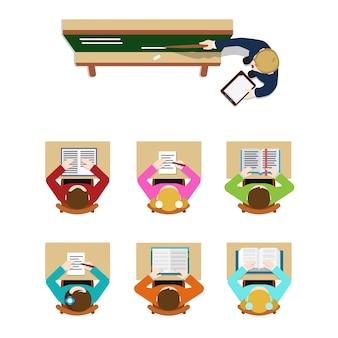 Education training class teacher coach blackboard and student pupil. flat top table view  concept school classroom tables. website creative people conceptual collection.