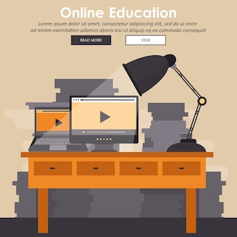 Education, training, on line tutorial, e-learning concept