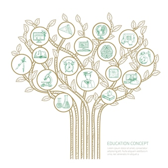 Education tree concept with learning and graduation sketch symbols vector illustration