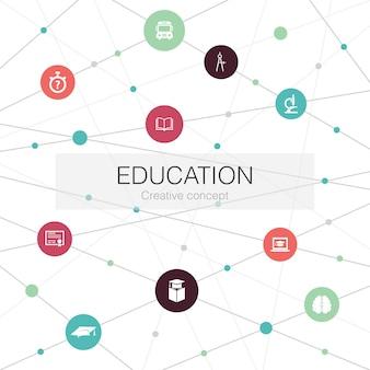 Модный веб-шаблон образования с простыми значками. содержит такие элементы, как градуировка, микроскоп, викторина, школьный автобус.