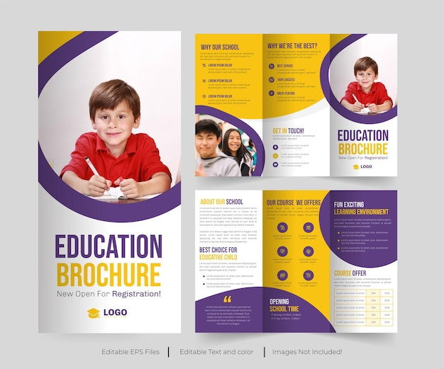 教育3つ折りパンフレットまたは学校入学またはコラージュ入学パンフレット