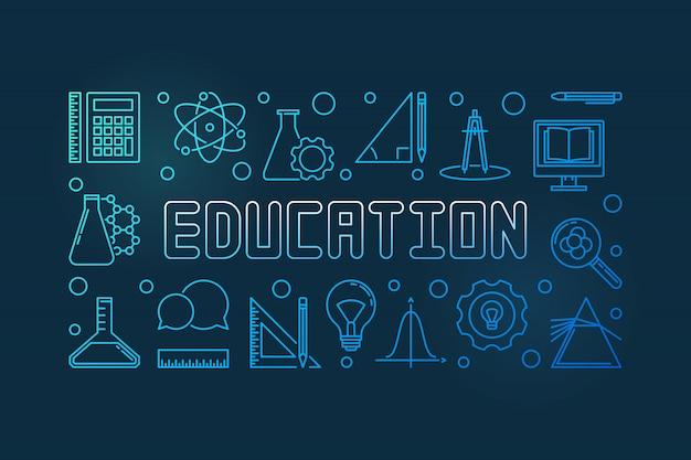 Education vector concept blue outline banner or illustration