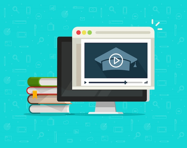 Education via online video on computer or internet webinar learning