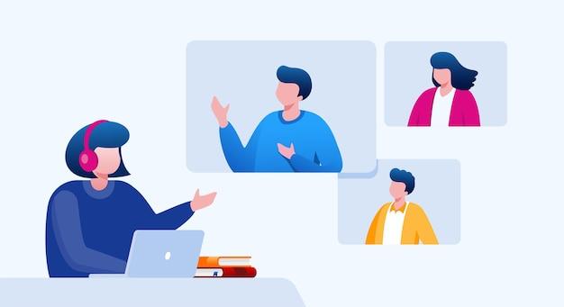 教育仮想会議イラスト