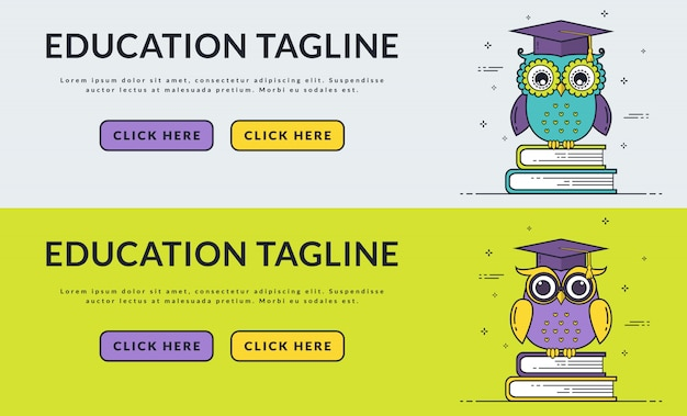 Education web banners with smart owl.