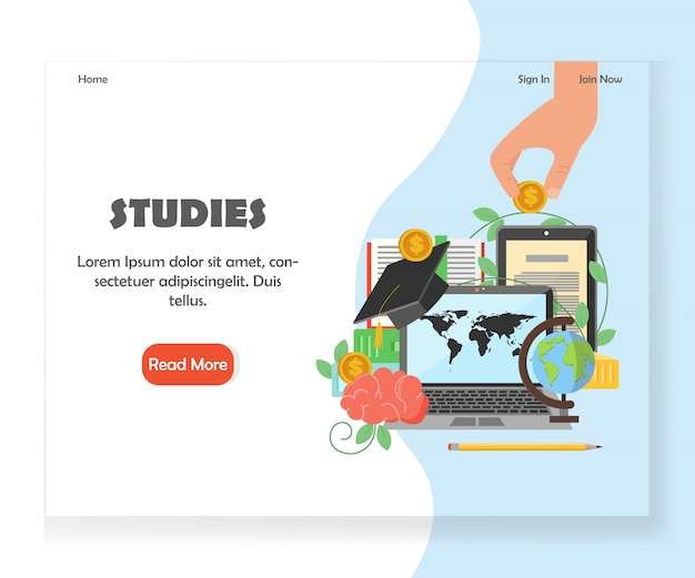 Education website landing page design template
