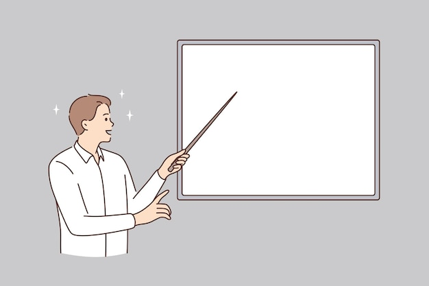 Education and white blackboard concept. young smiling man teacher lecturer standing pointing with stick to white mockup copy space blackboard vector illustration