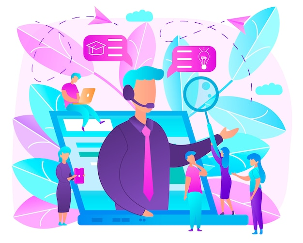 Education with online courses flat vector concept
