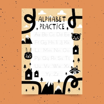 Educational alphabet tracing template for kids