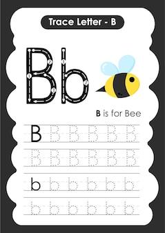 문자 b 꿀벌이 있는 교육용 알파벳 추적 워크시트