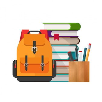 Educational backpack or study stationery stuff on desk