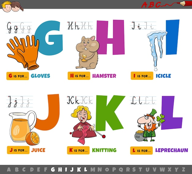Educational cartoon alphabet letters for children from g to l