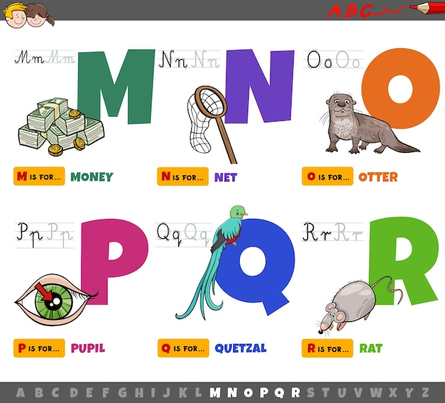 Mからrまでの子供のための教育漫画のアルファベット Premiumベクター